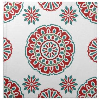 Retro buntes böhmisches abstraktes Blumenmuster Stoffserviette