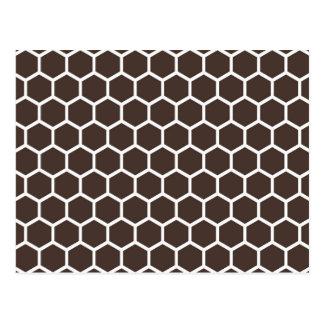 Retro buntes modernes Bienenwaben-Muster Browns Postkarte