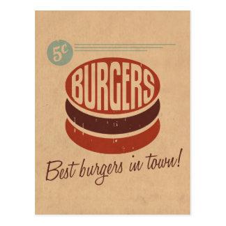 Retro Burger Postkarte