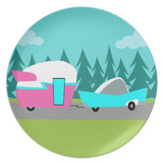 Retro Camper-/Anhänger-und Auto-Melamin-Platte Flache Teller