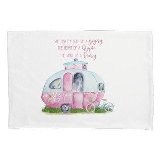 Retro Camper-Wohnwagen-rosa und weißer Kissen Bezug