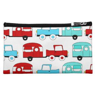 Retro Campings-Anhänger-Türkis-rote Vintage Autos