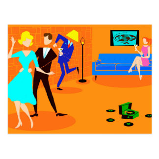 Retro Cartoon-Cocktail-Party-Postkarte Postkarte