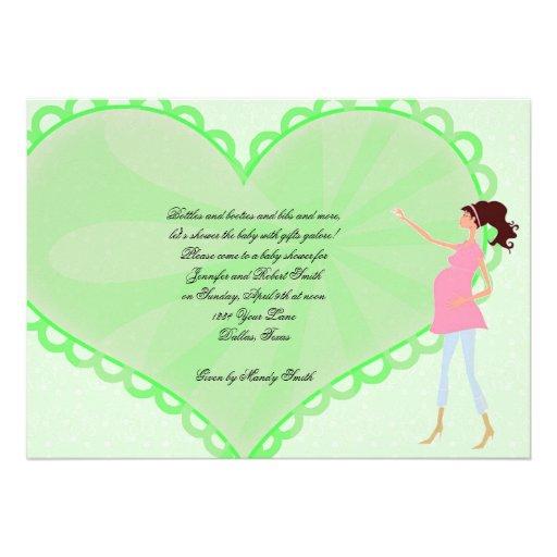 Retro Cartoon-Grün-Herz-Baby-Duschen-Einladung