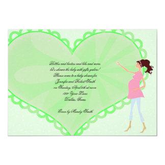 Retro Cartoon-Grün-Herz-Baby-Duschen-Einladung 12,7 X 17,8 Cm Einladungskarte