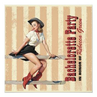 retro Cowgirl-Western-Land-Junggeselinnen-Abschied Quadratische 13,3 Cm Einladungskarte