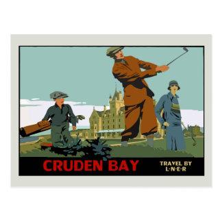 Retro Cruden Bucht-Schottland-Golf-Anzeige Postkarte