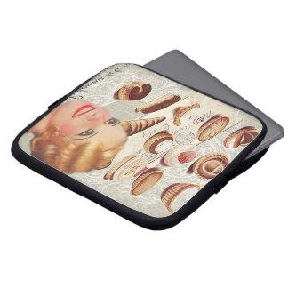 Retro Dame Paris des Bäckereikuchen-Gebäcks Laptop Sleeve