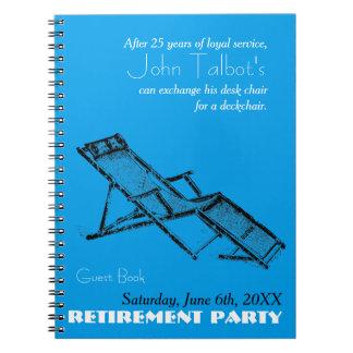 Retro Deckchair Ruhestands-Party-blaues Gast-Buch Spiral Notizblock