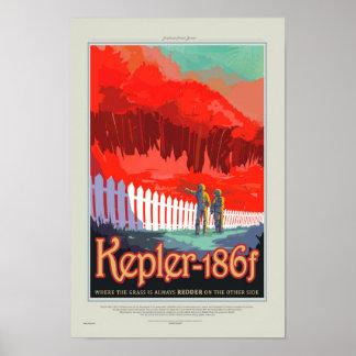 Retro die Art NASA-Reise-Plakat - Kepler 186f Poster