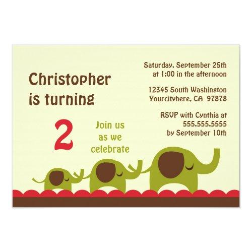 Retro Elephants Boys Birthday Party Invitation Einladung