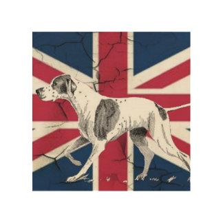 Retro englischer Zeigerhundebritische Holzdruck