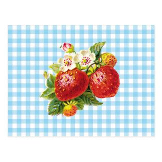 Retro Erdbeere Postkarte