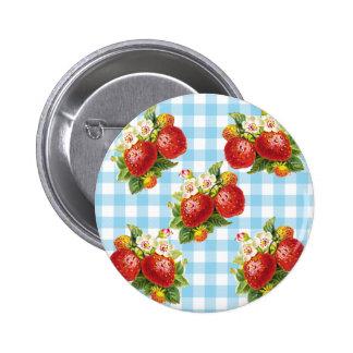 Retro Erdbeere Runder Button 5,7 Cm