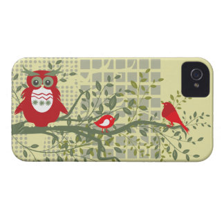 retro Eulen u. Vögel auf mutigem Kasten des iPhone 4 Cover