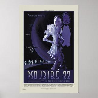 Retro ExoPlanet PSO J318.5-22 Reise-Plakat der Poster