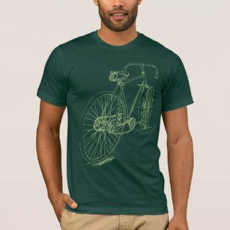Retro Fahrrad, das Entwurf im Grün zeichnet T-Shirt