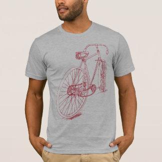 Retro Fahrrad, das Entwurf im Rot zeichnet T-Shirt