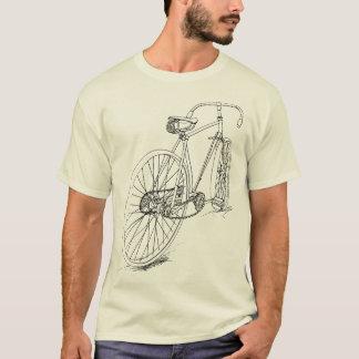 Retro Fahrrad, das Entwurf im Schwarzen zeichnet T-Shirt