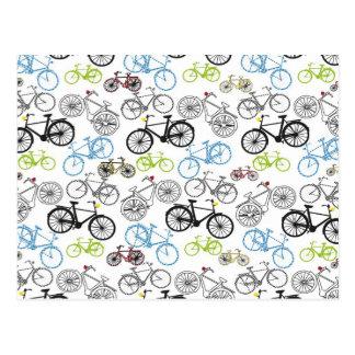Retro Fahrrad-Fahrrad-Muster Postkarte