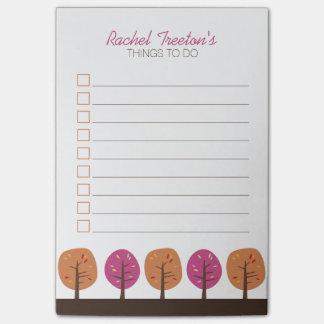 Retro Fall-Bäume, zum der Liste zu tun Post-it Klebezettel