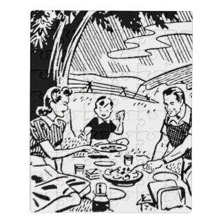 Retro Familien-Picknick Puzzle