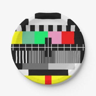 Retro Farbfernsehtestschirm Pappteller