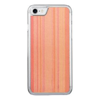 Retro Farbpfirsich-Zitronen-Streifen Carved iPhone 8/7 Hülle