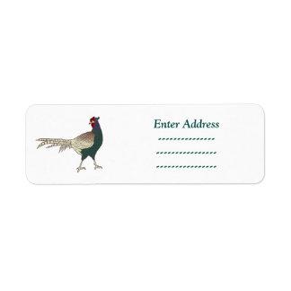 Retro Fasanvogelbraun-Adressenaufkleber