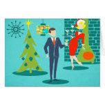 Retro Feiertags-Cartoon-Paar-Weihnachtskarte Karten