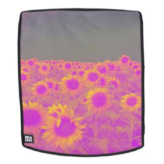 Retro Feld der Sonnenblumen Rucksack