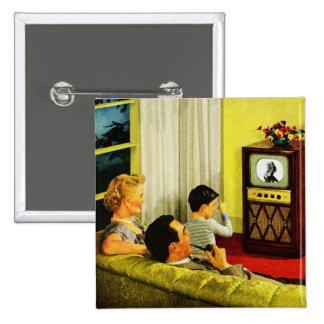 Retro Fernsehfamilien-Knopf Quadratischer Button 5,1 Cm