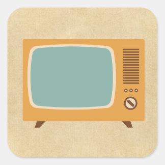 Retro FernsehSet Quadratischer Aufkleber