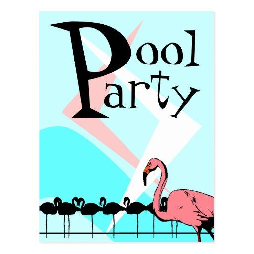Retro Flamingo-Pool-Party Einladungs-Postkarten-PC