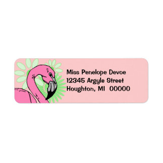 Retro Flamingo-Rosa-weißer Rücksende Aufkleber