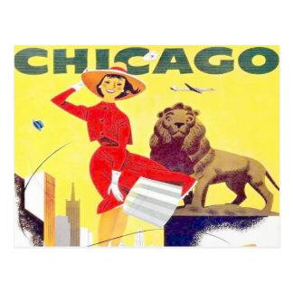 Retro Flugzeug des Chicago-Reisetourismus-Plakats Postkarte