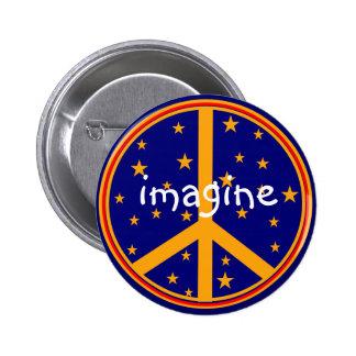 Retro Friedenssymbol stellen sich Knöpfe Marine un Runder Button 5,7 Cm
