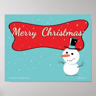 Retro frohe Weihnacht-Schneemann-Plakat Poster