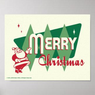 Retro frohe Weihnacht-Weihnachtsmann-Plakat Poster