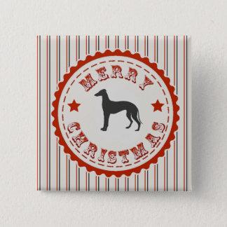 Retro frohe Weihnacht-Windhund-Hund festlich Quadratischer Button 5,1 Cm