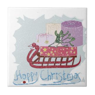 Retro. Frohe Weihnachten! Keramikfliese