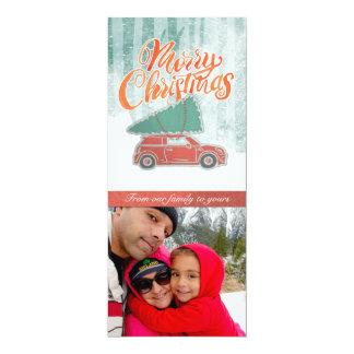 Retro frohe Weihnachtensnowy-Foto-Karte 10,2 X 23,5 Cm Einladungskarte