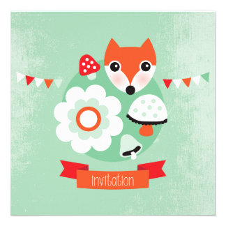 Retro Fuchs-Kindergeburtstageinladung Einladungskarten