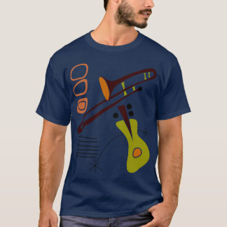 Retro Fünfzigerjahre abstraktes Gitarre u. T-Shirt