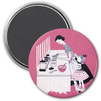 Retro Fünfzigerjahre, die Magneten backen Runder Magnet 7,6 Cm