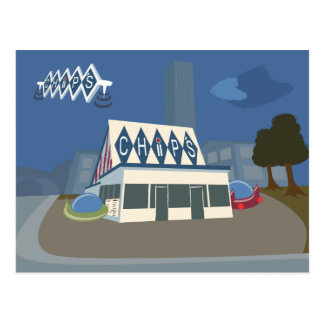 Retro-Futuristische Chips, Merrill, WI-Postkarte Postkarte