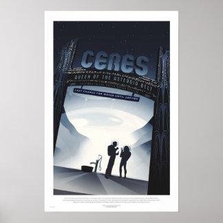 Retro futuristisches Reise-Plakat - Ceres Poster