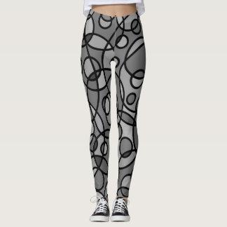 Retro Gamaschen-Schwarz-graues geometrisches Leggings