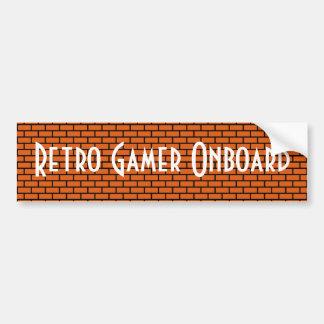 Retro Gamer an Bord, orange 8-Bitziegelstein Autoaufkleber