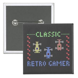 Retro Gamer, der Knopf läuft Quadratischer Button 5,1 Cm